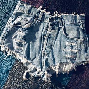 Levi's Distressed High Waist Shorts